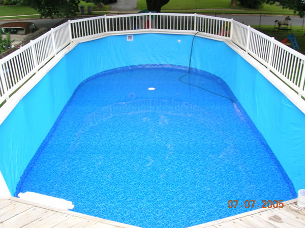 Pool Liner Designs For Inground Pools clayton lambert vinyl liner pool with custom sundeck and steps Above Ground Swimming Pool Overlap Liner